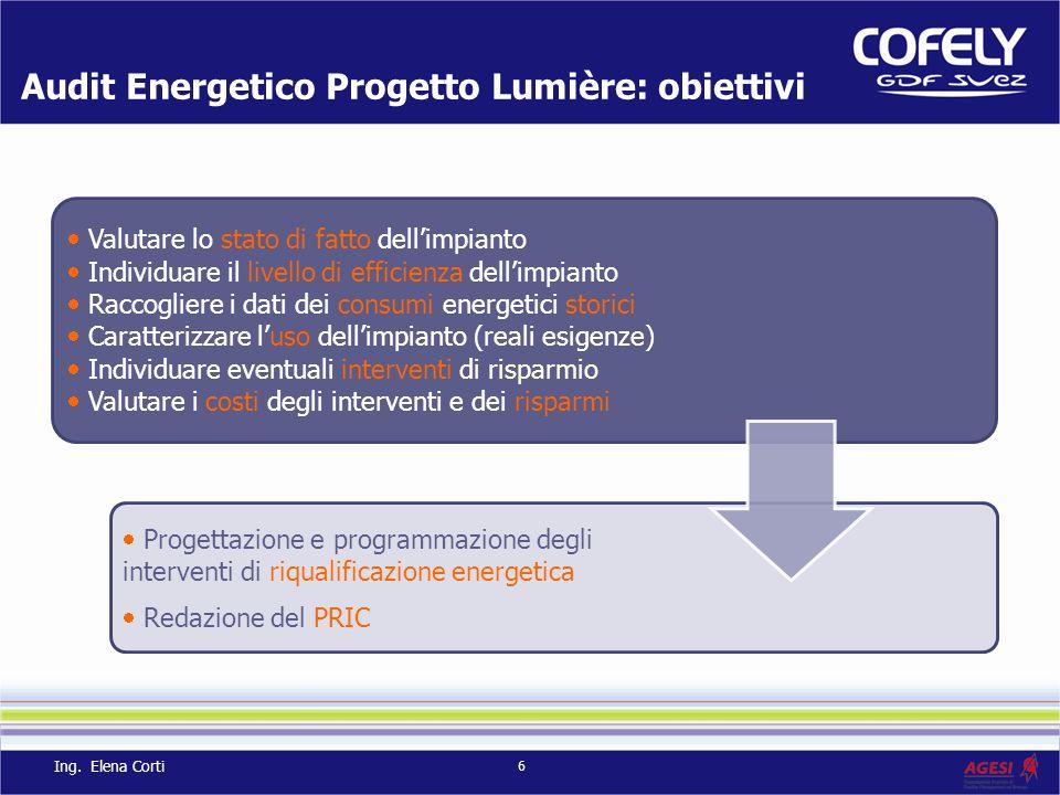 Audit Energetico Progetto Lumière: obiettivi Valutare lo stato di fatto dellimpianto Individuare il livello di efficienza dellimpianto Raccogliere i d