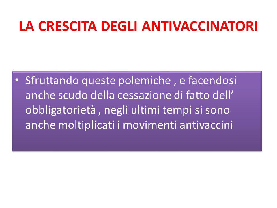 LA CRESCITA DEGLI ANTIVACCINATORI Sfruttando queste polemiche, e facendosi anche scudo della cessazione di fatto dell obbligatorietà, negli ultimi tempi si sono anche moltiplicati i movimenti antivaccini