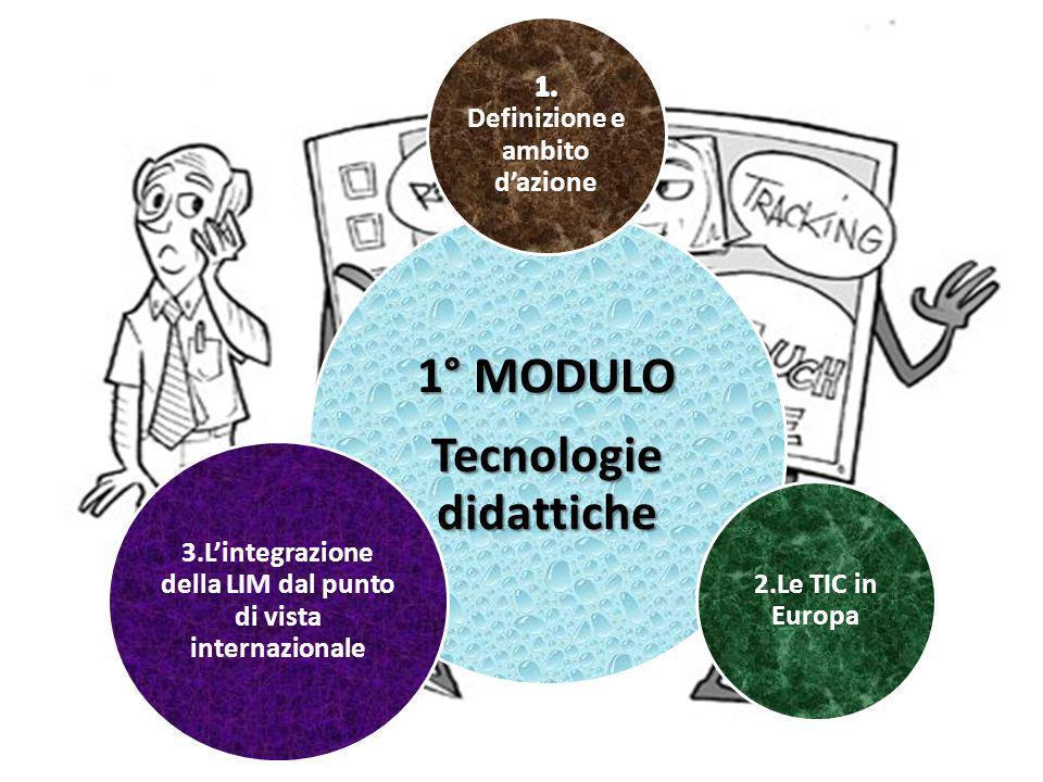 1° MODULO Tecnologie didattiche 2.Le TIC in Europa 3.Lintegrazione della LIM dal punto di vista internazionale