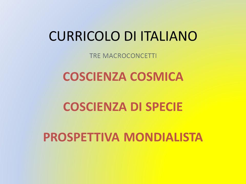 CURRICOLO DI ITALIANO TRE MACROCONCETTI COSCIENZA COSMICA COSCIENZA DI SPECIE PROSPETTIVA MONDIALISTA