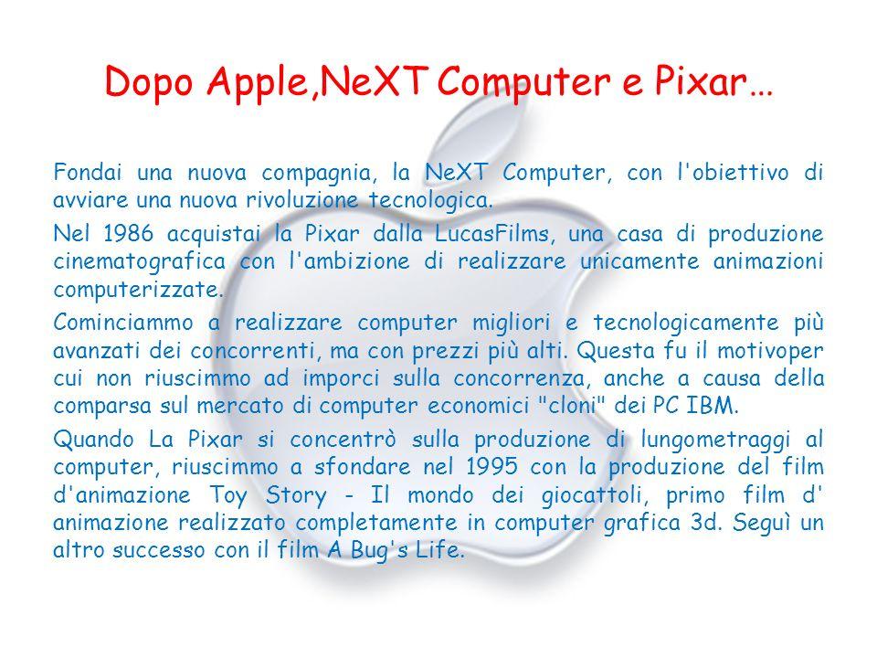 Dopo Apple,NeXT Computer e Pixar… Fondai una nuova compagnia, la NeXT Computer, con l'obiettivo di avviare una nuova rivoluzione tecnologica. Nel 1986