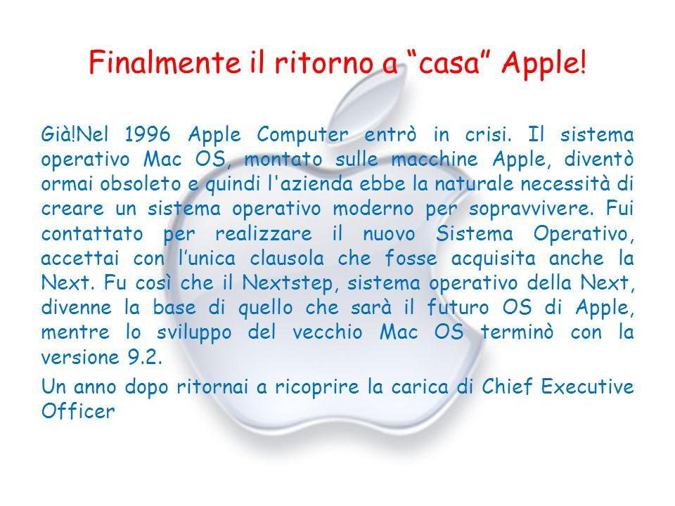 Finalmente il ritorno a casa Apple! Già!Nel 1996 Apple Computer entrò in crisi. Il sistema operativo Mac OS, montato sulle macchine Apple, diventò orm