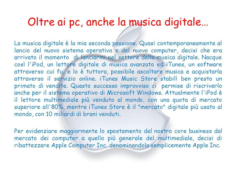 Oltre ai pc, anche la musica digitale… La musica digitale è la mia seconda passione. Quasi contemporaneamente al lancio del nuovo sistema operativo e