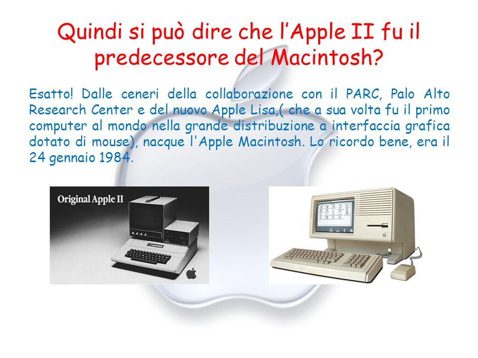 Quindi si può dire che lApple II fu il predecessore del Macintosh? Esatto! Dalle ceneri della collaborazione con il PARC, Palo Alto Research Center e