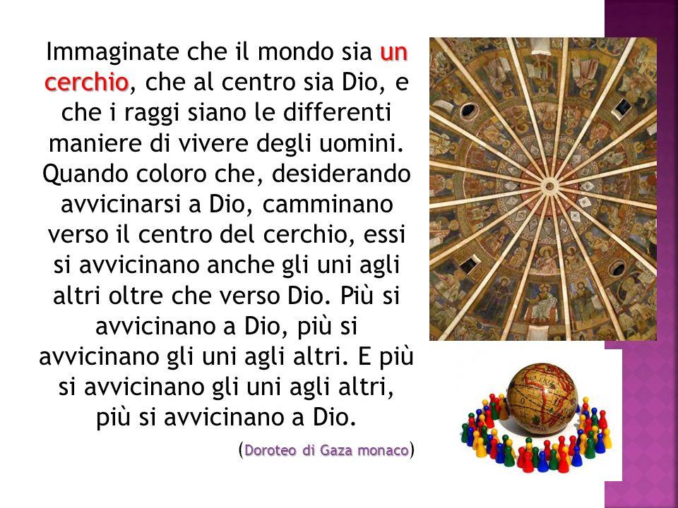 un cerchio Immaginate che il mondo sia un cerchio, che al centro sia Dio, e che i raggi siano le differenti maniere di vivere degli uomini. Quando col