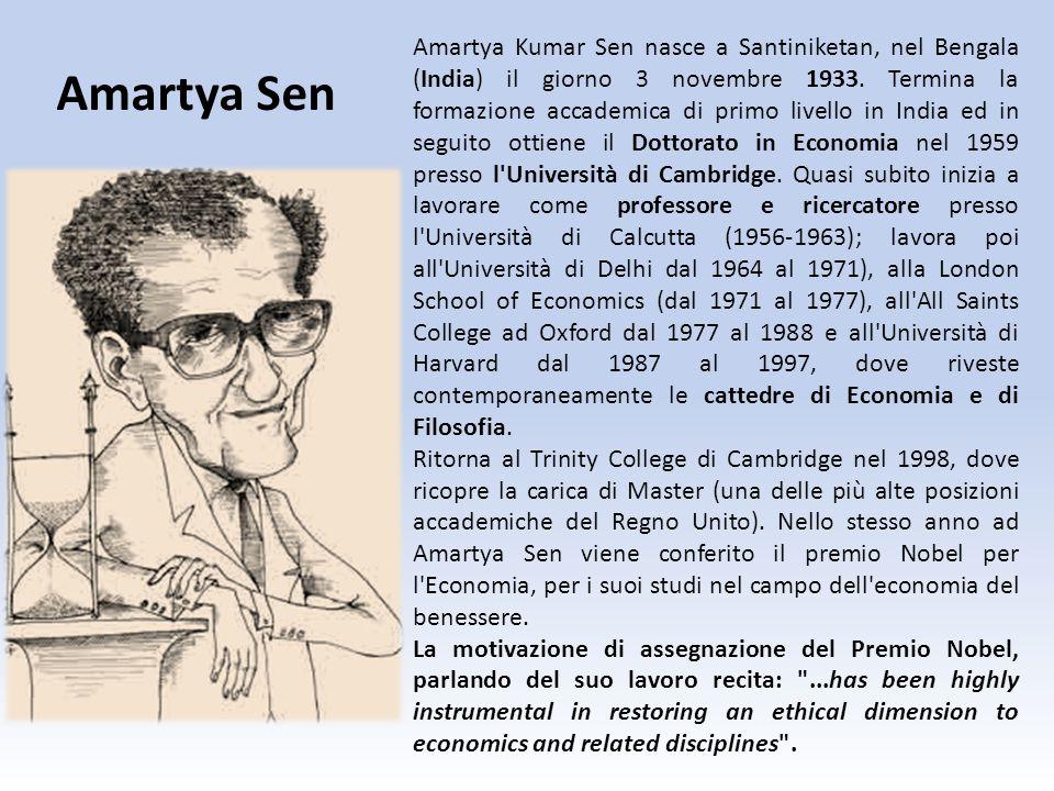 Amartya Kumar Sen nasce a Santiniketan, nel Bengala (India) il giorno 3 novembre 1933. Termina la formazione accademica di primo livello in India ed i