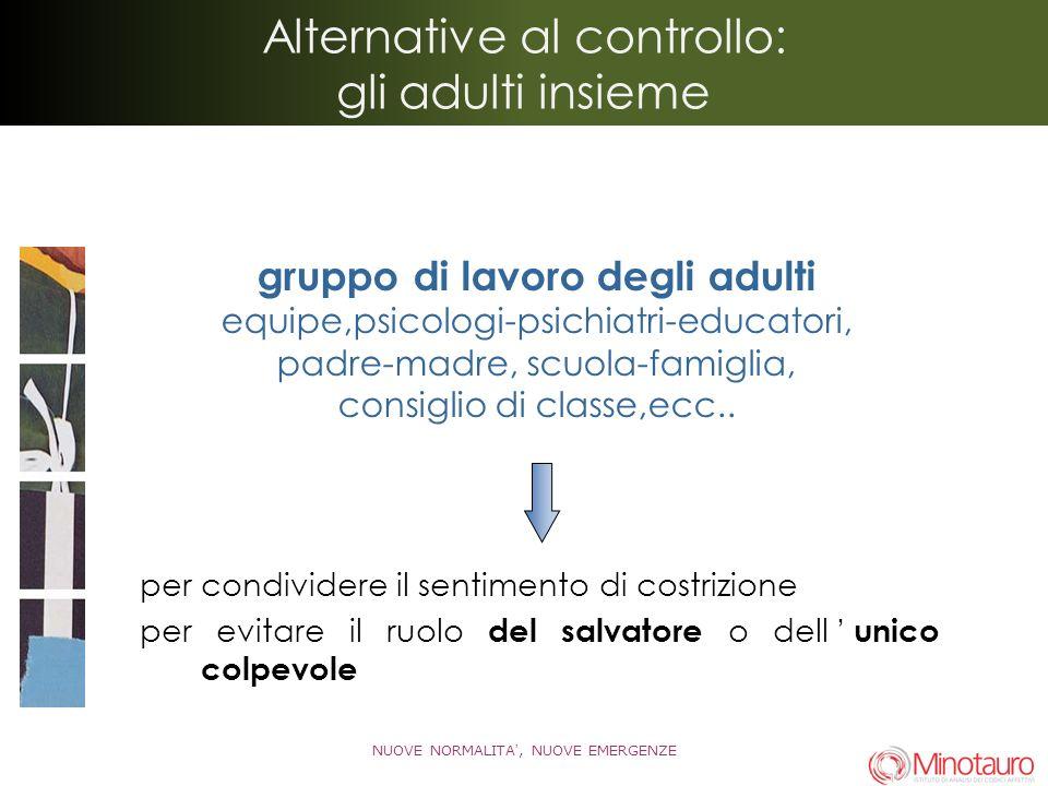 Alternative al controllo: gli adulti insieme per condividere il sentimento di costrizione per evitare il ruolo del salvatore o dell unico colpevole NU