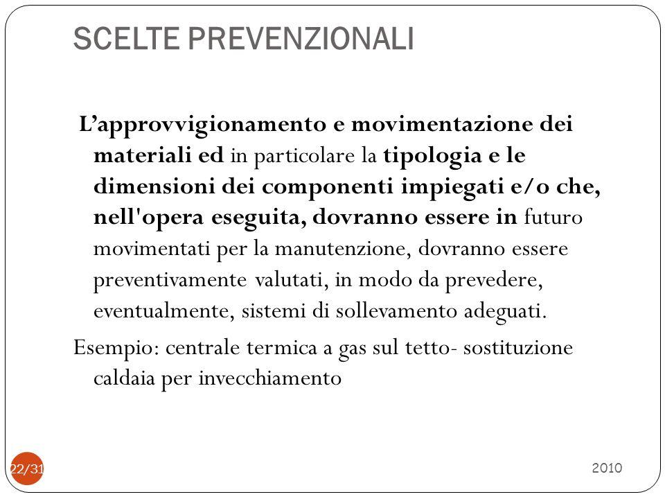 ESEMPIO DI SOLUZIONE TECNICA 2010 23/31 Sopraelevazione del basamento con materiale resistente in modo che lapertura pericolosa sia portata ad una altezza tale da poter essere considerata sicura.