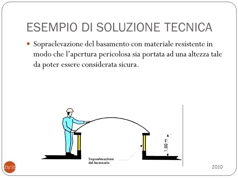 ESEMPIO DI SOLUZIONE TECNICA 2010 24/31 Realizzare la chiusura trasparente con materiali resistenti allo sfondamento conseguente al transito involontario o di urto accidentale
