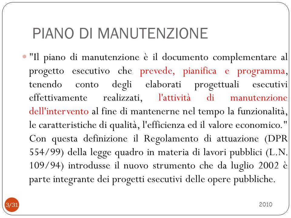 ESEMPIO TIPO DI PIANO DI MANUTENZIONE 2010 4/31 Manuale duso (Il manuale duso è un manuale di istruzioni indirizzato agli utenti finali.