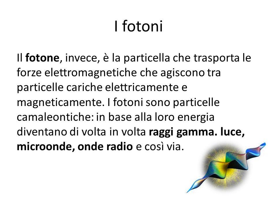 I fotoni Il fotone, invece, è la particella che trasporta le forze elettromagnetiche che agiscono tra particelle cariche elettricamente e magneticamen