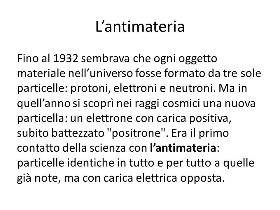 Lantimateria Fino al 1932 sembrava che ogni oggetto materiale nelluniverso fosse formato da tre sole particelle: protoni, elettroni e neutroni. Ma in