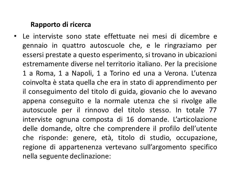 Rapporto di ricerca Le interviste sono state effettuate nei mesi di dicembre e gennaio in quattro autoscuole che, e le ringraziamo per essersi prestate a questo esperimento, si trovano in ubicazioni estremamente diverse nel territorio italiano.