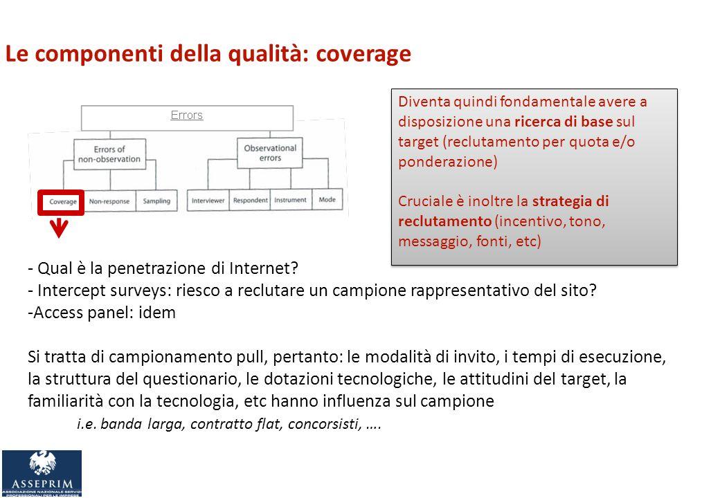 Le componenti della qualità: coverage - Qual è la penetrazione di Internet.
