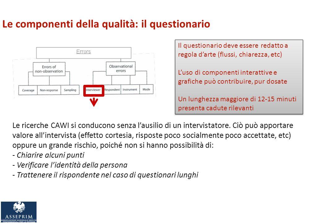 Le componenti della qualità: il questionario Le ricerche CAWI si conducono senza lausilio di un intervistatore.