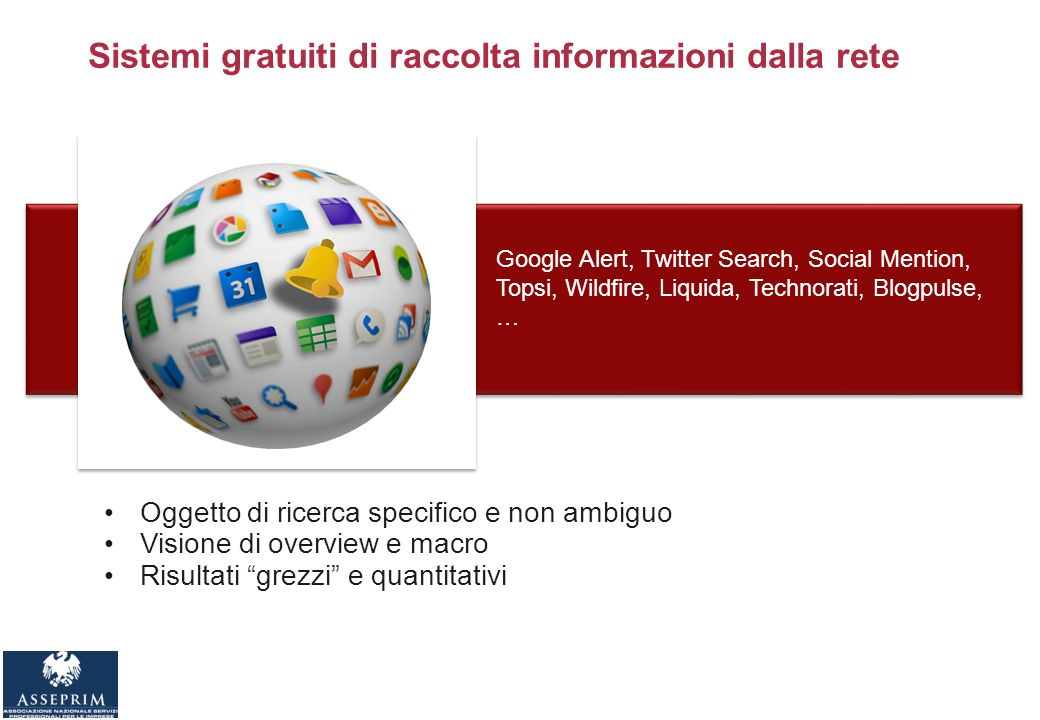 Google Alert, Twitter Search, Social Mention, Topsi, Wildfire, Liquida, Technorati, Blogpulse, … Sistemi gratuiti di raccolta informazioni dalla rete