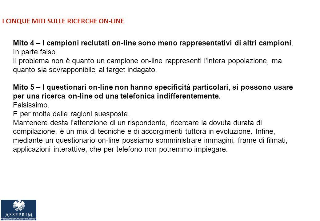 I CINQUE MITI SULLE RICERCHE ON-LINE Mito 4 – I campioni reclutati on-line sono meno rappresentativi di altri campioni.