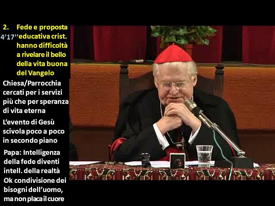 Levento di Gesù scivola poco a poco in secondo piano Papa: Intelligenza della fede diventi intell. della realtà 2.Fede e proposta ieducativa crist. ha