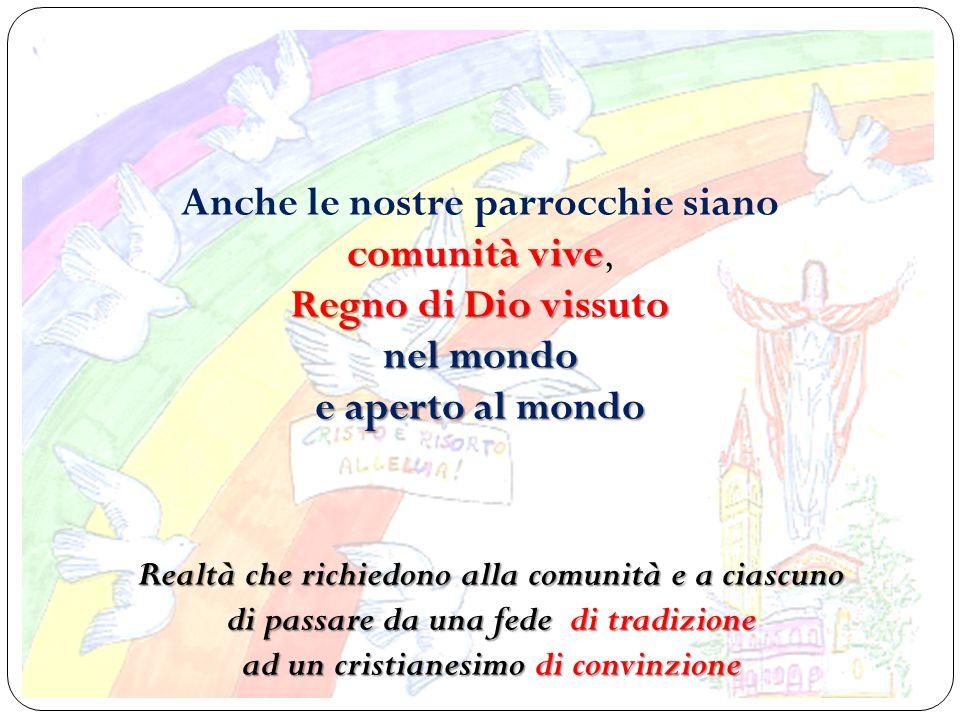 Anche le nostre parrocchie siano comunità vive Regno di Dio vissuto nel mondo e aperto al mondo comunità vive, Regno di Dio vissuto nel mondo e aperto