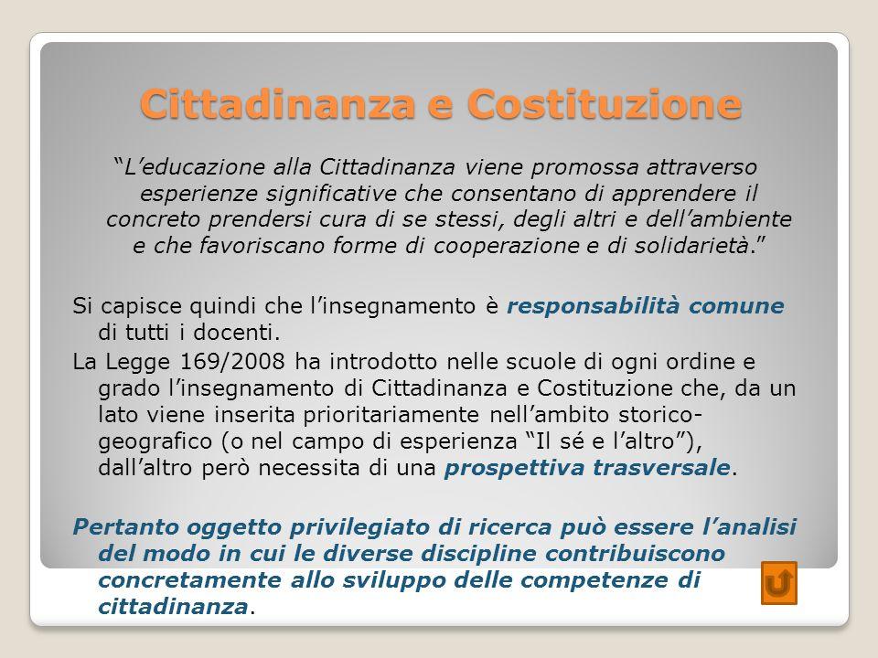 Cittadinanza e Costituzione Leducazione alla Cittadinanza viene promossa attraverso esperienze significative che consentano di apprendere il concreto