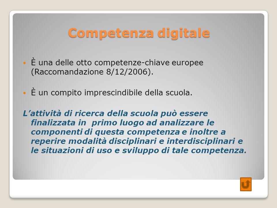Competenza digitale È una delle otto competenze-chiave europee (Raccomandazione 8/12/2006). È un compito imprescindibile della scuola. Lattività di ri