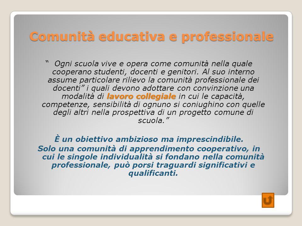 Comunità educativa e professionale lavoro collegiale Ogni scuola vive e opera come comunità nella quale cooperano studenti, docenti e genitori. Al suo