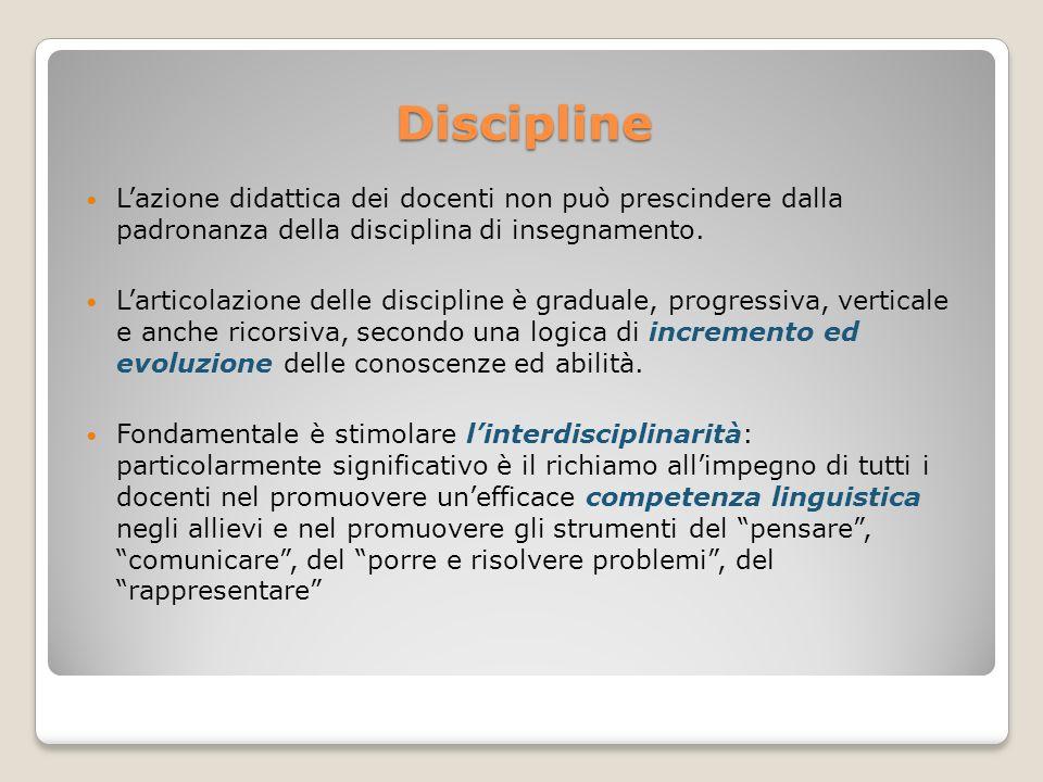 Discipline Lazione didattica dei docenti non può prescindere dalla padronanza della disciplina di insegnamento. Larticolazione delle discipline è grad