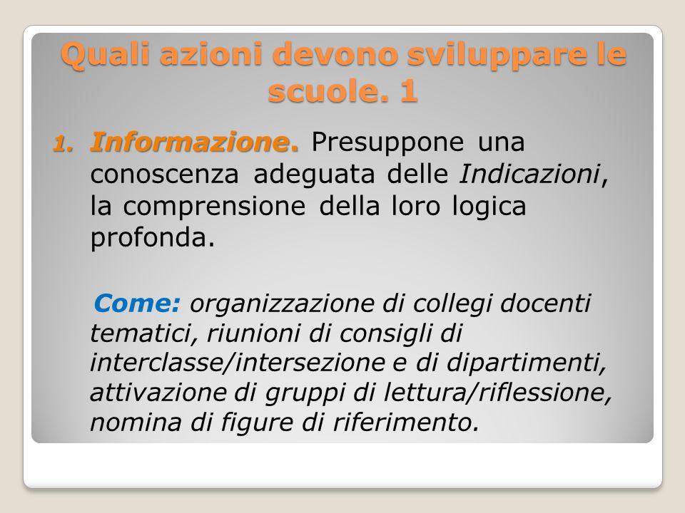 Quali azioni devono sviluppare le scuole. 1 1. Informazione. 1. Informazione. Presuppone una conoscenza adeguata delle Indicazioni, la comprensione de