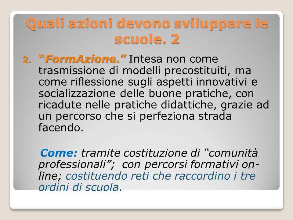 Quali azioni devono sviluppare le scuole. 2 2.FormAzione. 2.FormAzione. Intesa non come trasmissione di modelli precostituiti, ma come riflessione sug