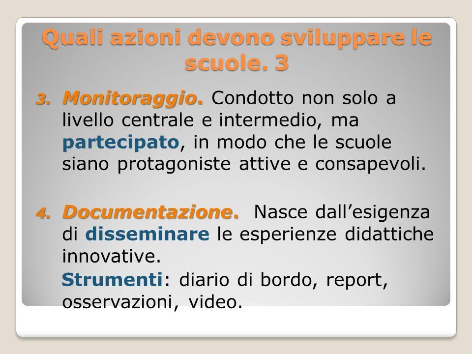 Quali azioni devono sviluppare le scuole. 3 3. Monitoraggio. 3. Monitoraggio. Condotto non solo a livello centrale e intermedio, ma partecipato, in mo