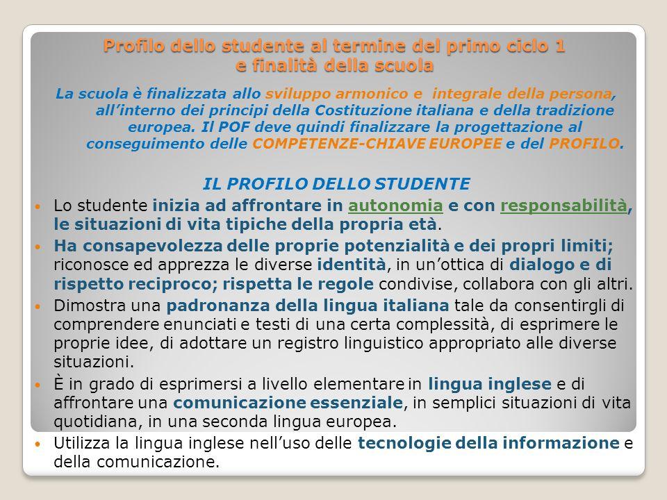 Profilo dello studente al termine del primo ciclo 1 e finalità della scuola La scuola è finalizzata allo sviluppo armonico e integrale della persona,