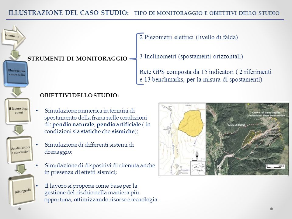 ILLUSTRAZIONE DEL CASO STUDIO: TIPO DI MONITORAGGIO E OBIETTIVI DELLO STUDIO STRUMENTI DI MONITORAGGIO 3 Inclinometri (spostamenti orizzontali) 2 Piezometri elettrici (livello di falda) Rete GPS composta da 15 indicatori ( 2 riferimenti e 13 benchmarks, per la misura di spostamenti) OBIETTIVI DELLO STUDIO: Simulazione numerica in termini di spostamento della frana nelle condizioni di: pendio naturale, pendio artificiale ( in condizioni sia statiche che sismiche); Simulazione di differenti sistemi di drenaggio; Simulazione di dispositivi di ritenuta anche in presenza di effetti sismici; Il lavoro si propone come base per la gestione del rischio nella maniera più opportuna, ottimizzando risorse e tecnologia.