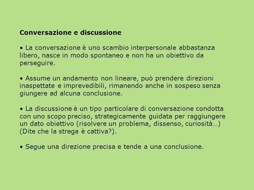 Conversazione e discussione La conversazione è uno scambio interpersonale abbastanza libero, nasce in modo spontaneo e non ha un obiettivo da perseguire.