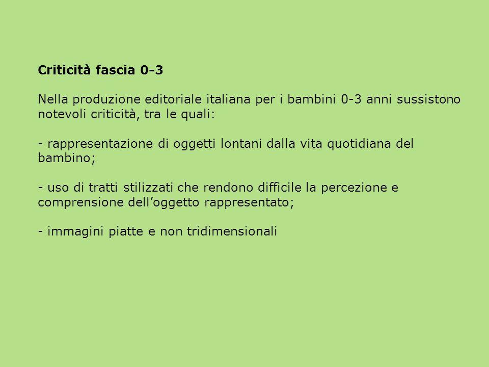 Criticità fascia 0-3 Nella produzione editoriale italiana per i bambini 0-3 anni sussistono notevoli criticità, tra le quali: - rappresentazione di og