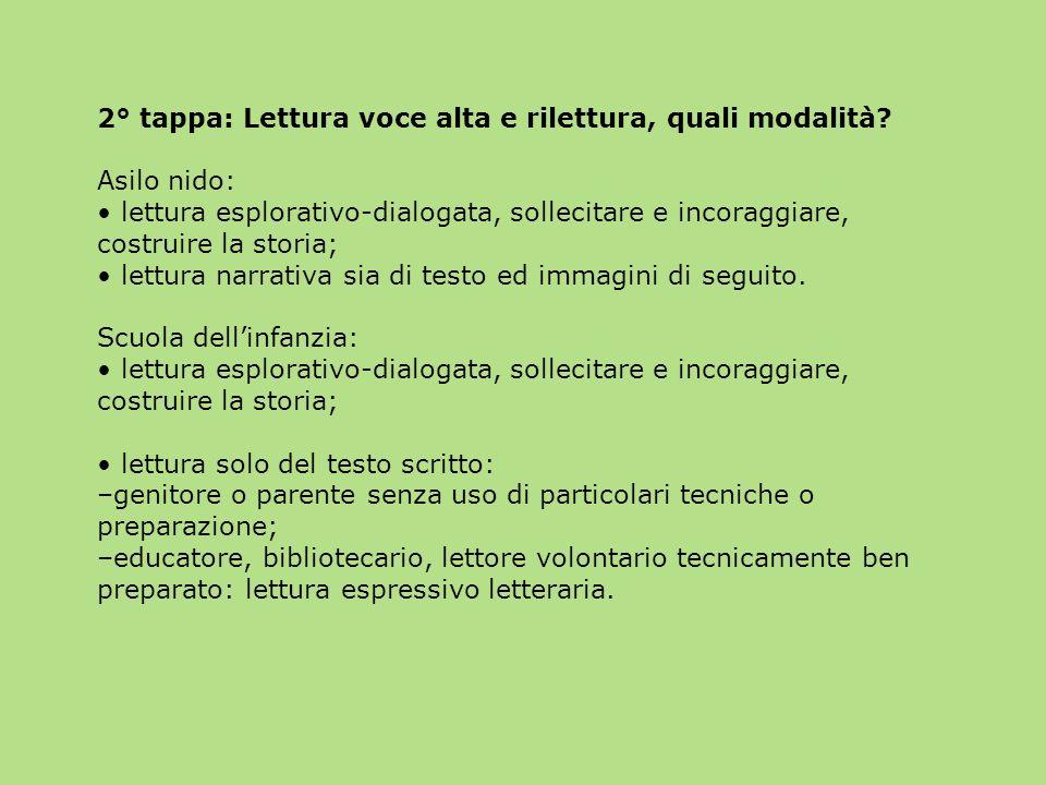 2° tappa: Lettura voce alta e rilettura, quali modalità? Asilo nido: lettura esplorativo-dialogata, sollecitare e incoraggiare, costruire la storia; l