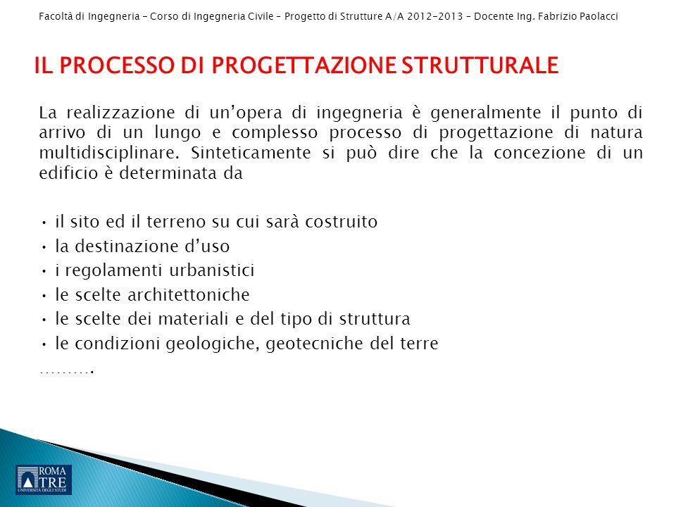 Facoltà di Ingegneria - Corso di Ingegneria Civile – Progetto di Strutture A/A 2012-2013 – Docente Ing. Fabrizio Paolacci La realizzazione di unopera