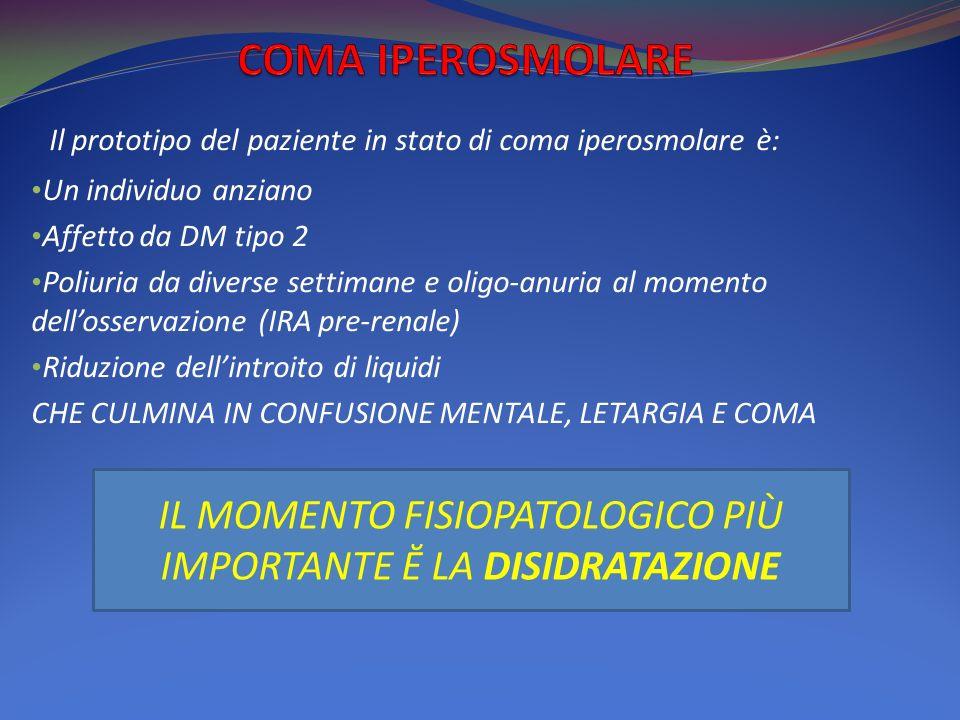 Il prototipo del paziente in stato di coma iperosmolare è: Un individuo anziano Affetto da DM tipo 2 Poliuria da diverse settimane e oligo-anuria al momento dellosservazione (IRA pre-renale) Riduzione dellintroito di liquidi CHE CULMINA IN CONFUSIONE MENTALE, LETARGIA E COMA IL MOMENTO FISIOPATOLOGICO PIÙ IMPORTANTE Ĕ LA DISIDRATAZIONE