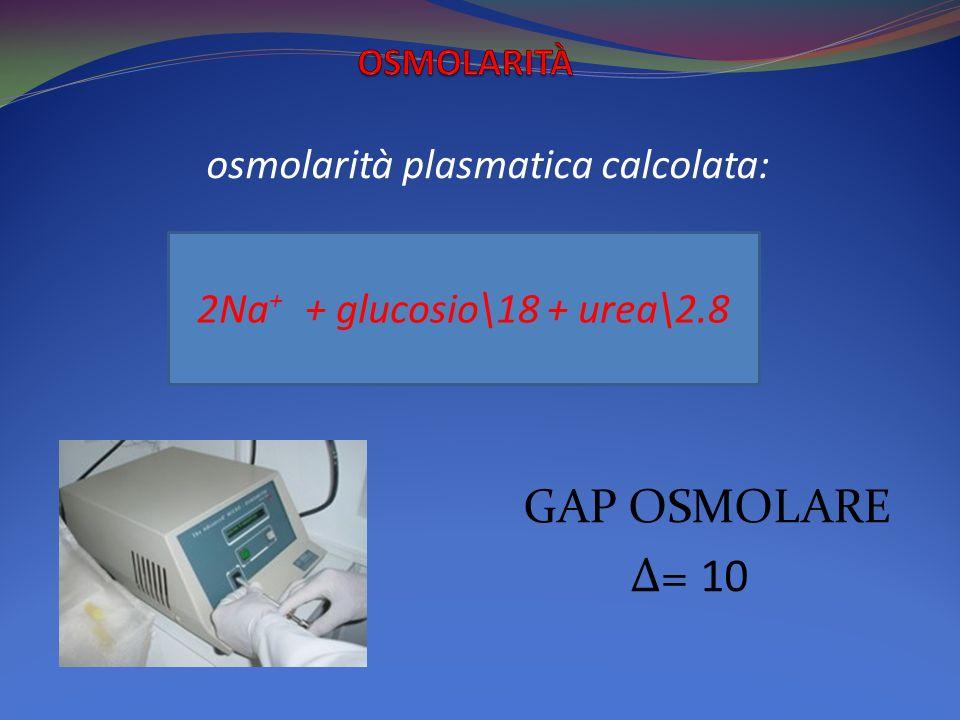 osmolarità plasmatica calcolata: GAP OSMOLARE Δ= 10 2Na + + glucosio\18 + urea\2.8