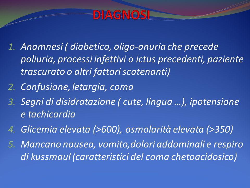 1. Anamnesi ( diabetico, oligo-anuria che precede poliuria, processi infettivi o ictus precedenti, paziente trascurato o altri fattori scatenanti) 2.