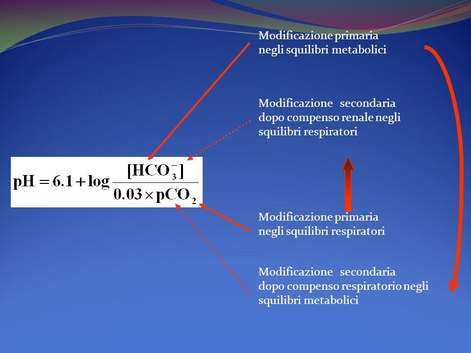 Modificazione primaria negli squilibri metabolici Modificazione secondaria dopo compenso renale negli squilibri respiratori Modificazione primaria negli squilibri respiratori Modificazione secondaria dopo compenso respiratorio negli squilibri metabolici