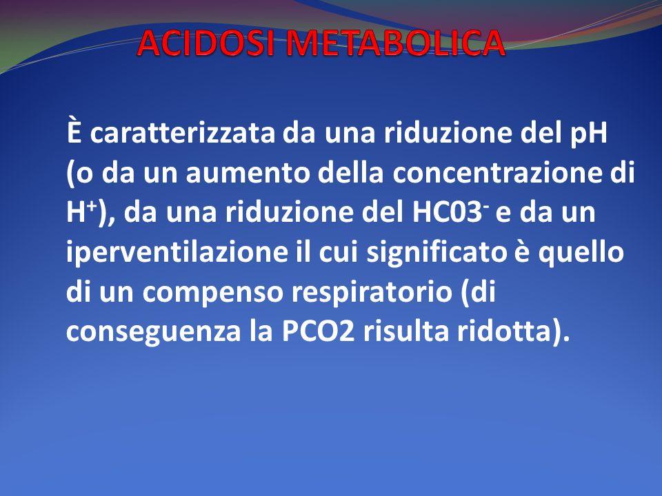 È caratterizzata da una riduzione del pH (o da un aumento della concentrazione di H + ), da una riduzione del HC03 - e da un iperventilazione il cui significato è quello di un compenso respiratorio (di conseguenza la PCO2 risulta ridotta).