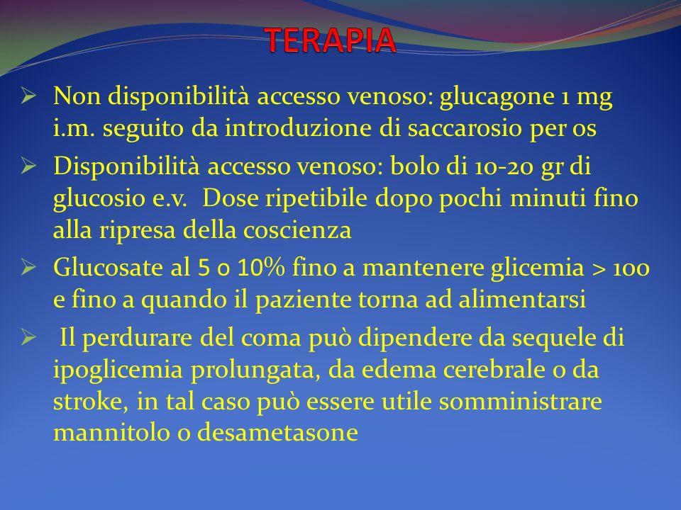 Non disponibilità accesso venoso: glucagone 1 mg i.m.