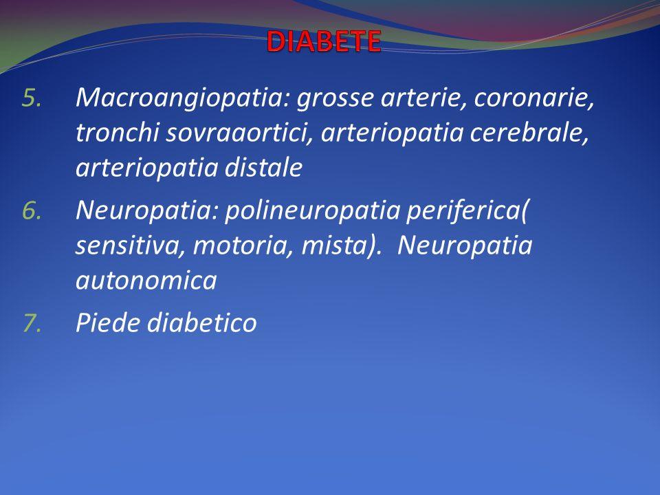 5. Macroangiopatia: grosse arterie, coronarie, tronchi sovraaortici, arteriopatia cerebrale, arteriopatia distale 6. Neuropatia: polineuropatia perife