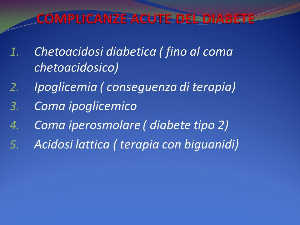 1.Chetoacidosi diabetica ( fino al coma chetoacidosico) 2.