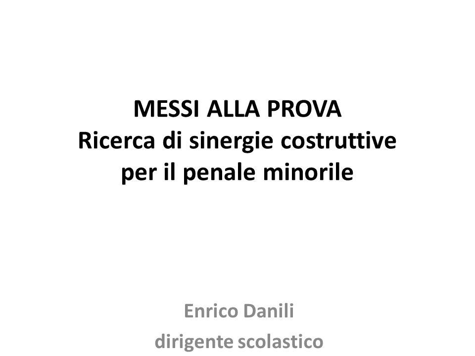 MESSI ALLA PROVA Ricerca di sinergie costruttive per il penale minorile Enrico Danili dirigente scolastico