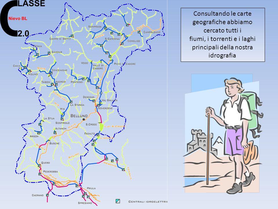 Consultando le carte geografiche abbiamo cercato tutti i fiumi, i torrenti e i laghi principali della nostra idrografia