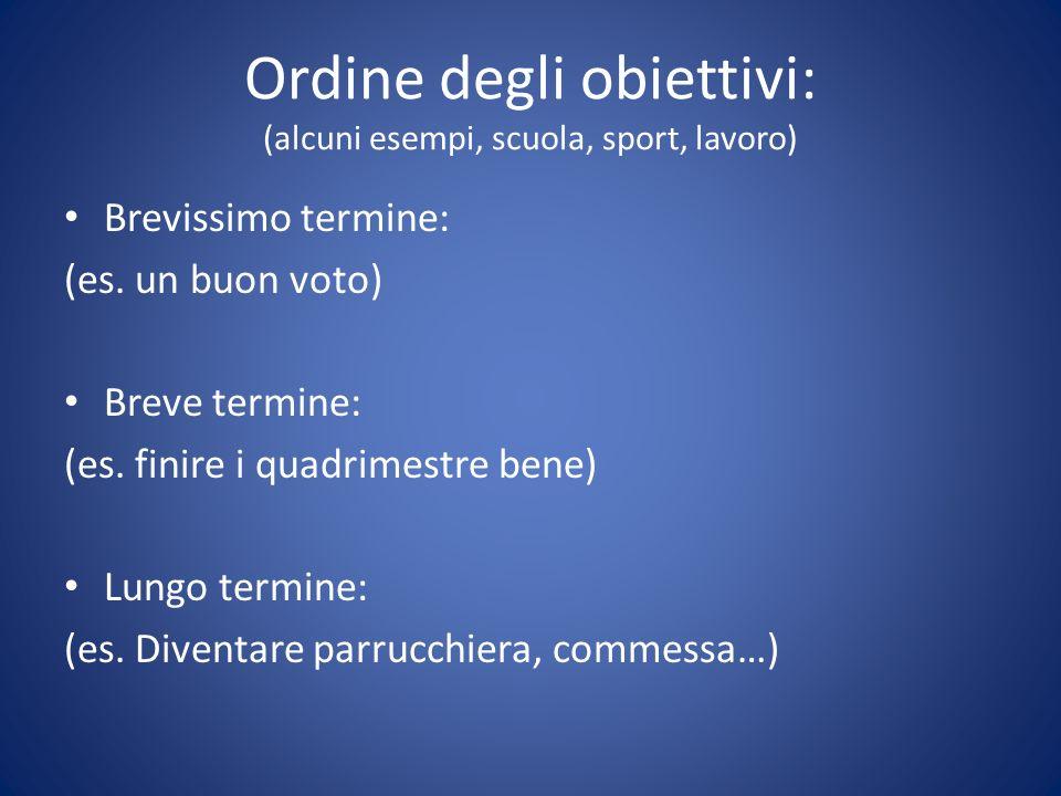 Ordine degli obiettivi: (alcuni esempi, scuola, sport, lavoro) Brevissimo termine: (es.