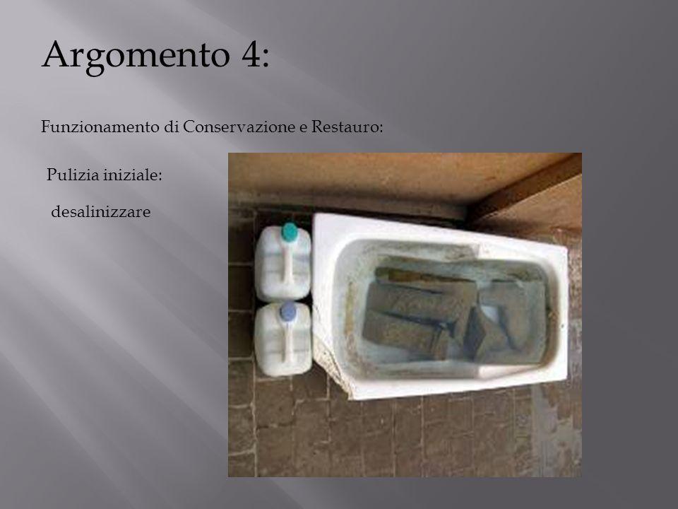 Argomento 4: Pulizia iniziale: Funzionamento di Conservazione e Restauro: desalinizzare