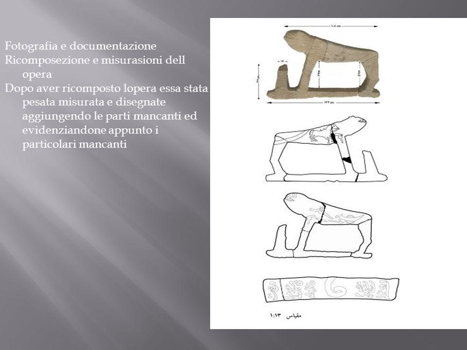 Fotografia e documentazione Ricomposezione e misurasioni dell opera Dopo aver ricomposto lopera essa stata pesata misurata e disegnate aggiungendo le