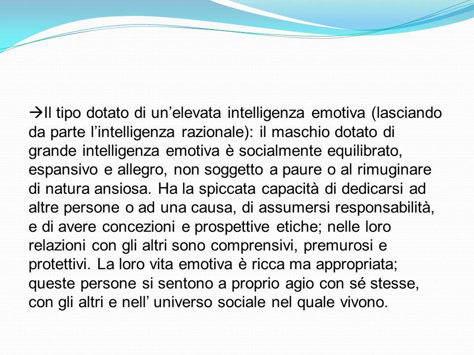 Il tipo dotato di unelevata intelligenza emotiva (lasciando da parte lintelligenza razionale): il maschio dotato di grande intelligenza emotiva è soci
